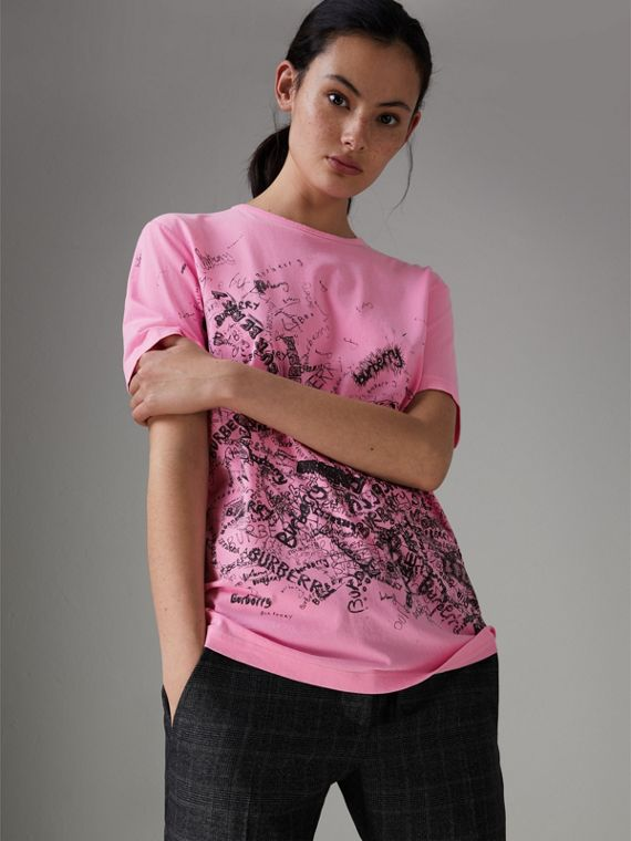 Doodle Print Cotton T-shirt in Bright Rose Pink