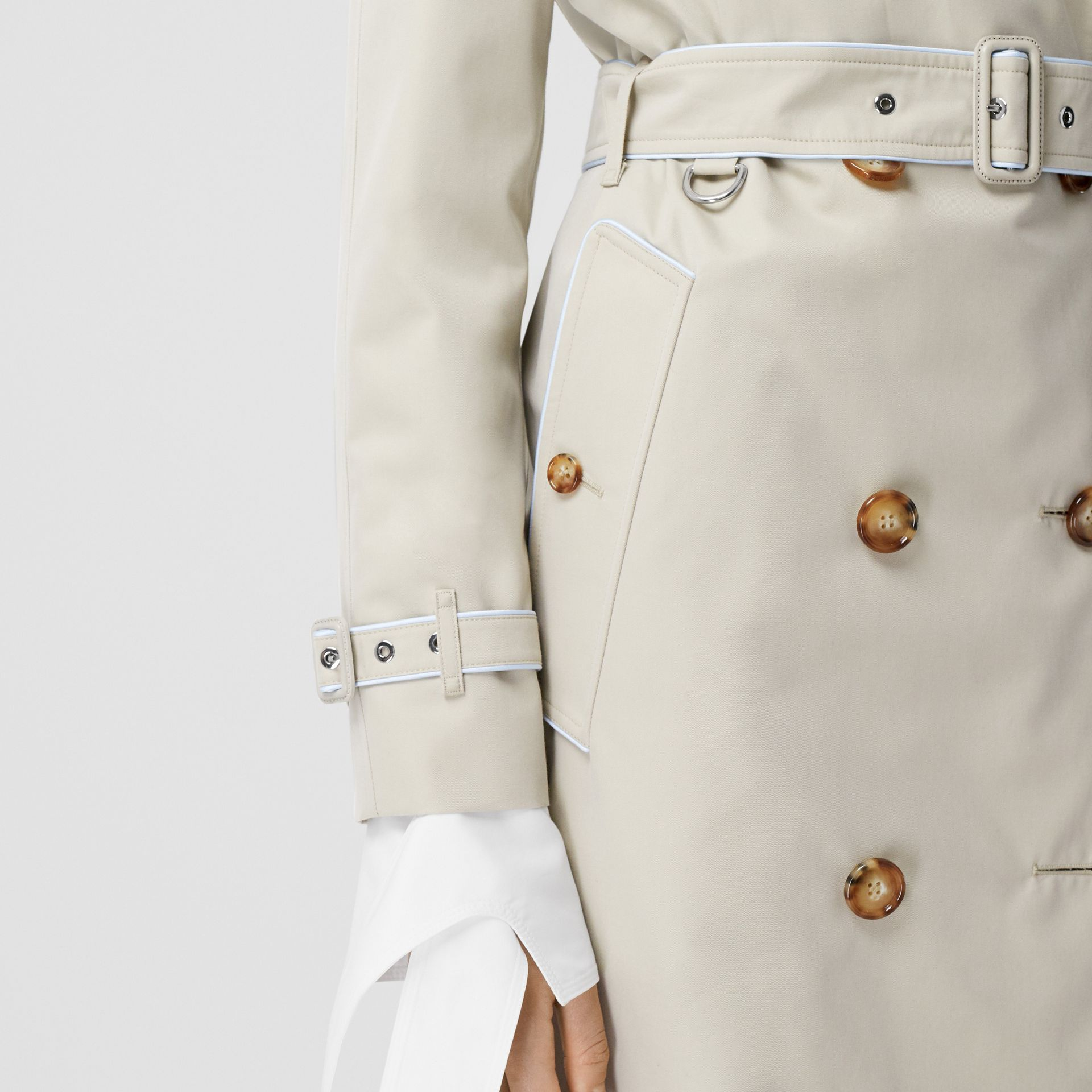 Piped Cotton Gabardine Trench Coat in Stone - Women | Burberry - gallery image 4