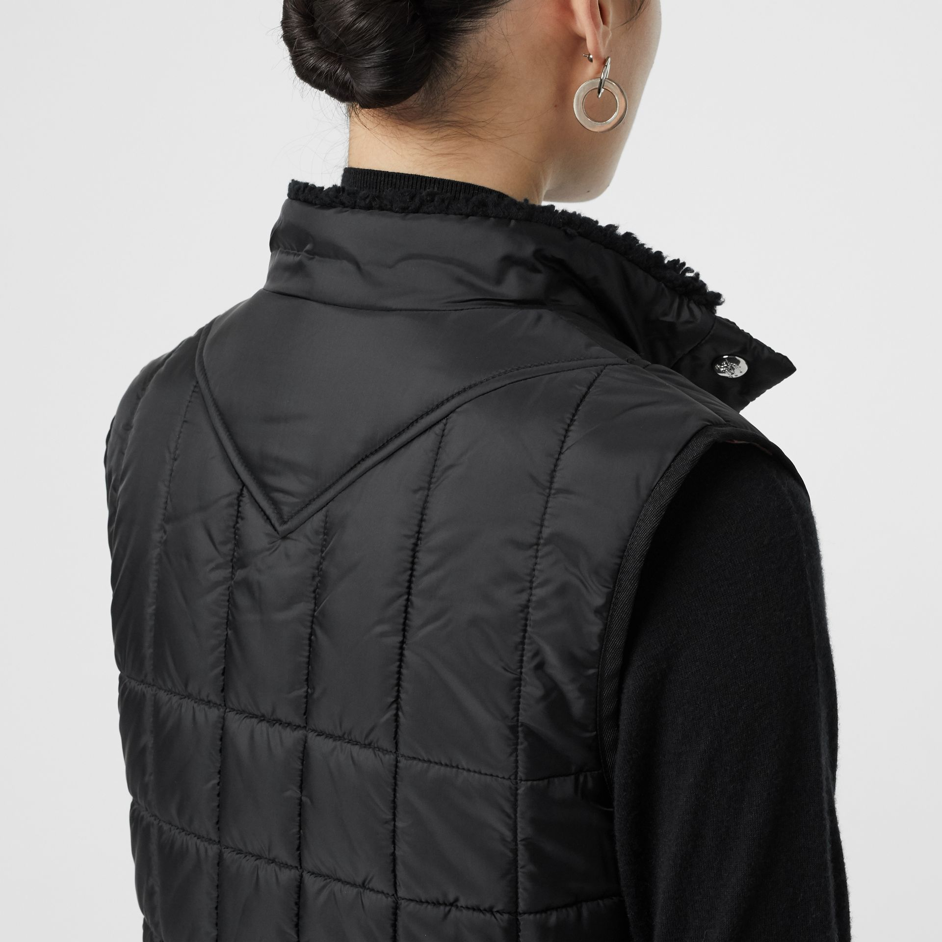 Faux Shearling Collar Lightweight Quilted Gilet in Black - Women | Burberry - gallery image 1