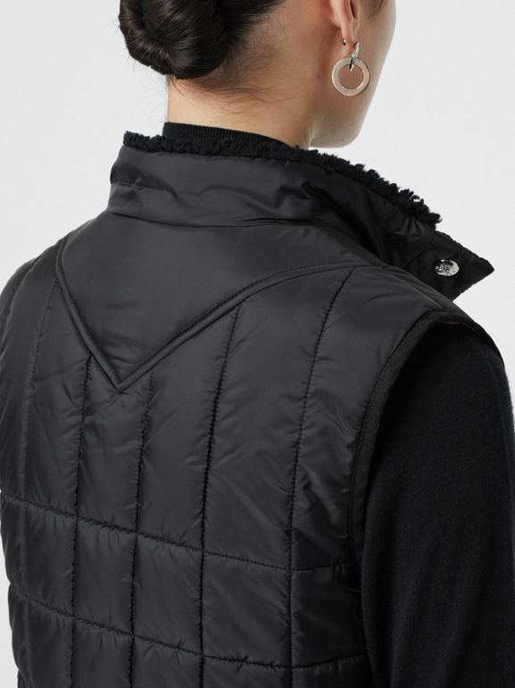 Faux Shearling Collar Lightweight Quilted Gilet in Black - Women | Burberry Canada - cell image 1