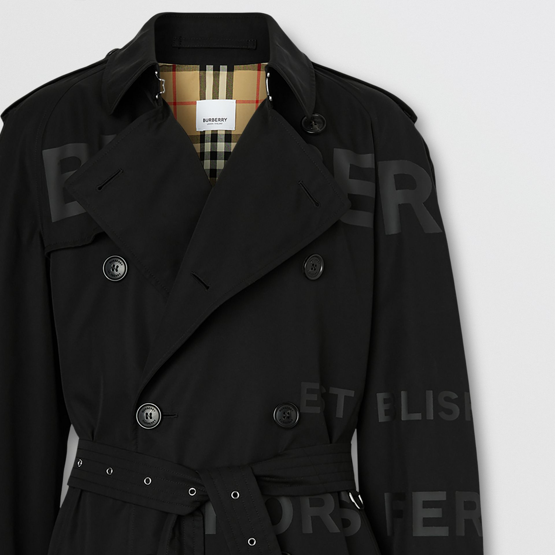 Horseferry Print Cotton Gabardine Trench Coat in Black - Men | Burberry - gallery image 7