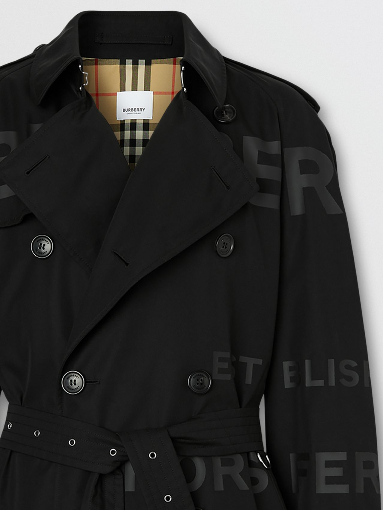 Horseferry Print Cotton Gabardine Trench Coat in Black