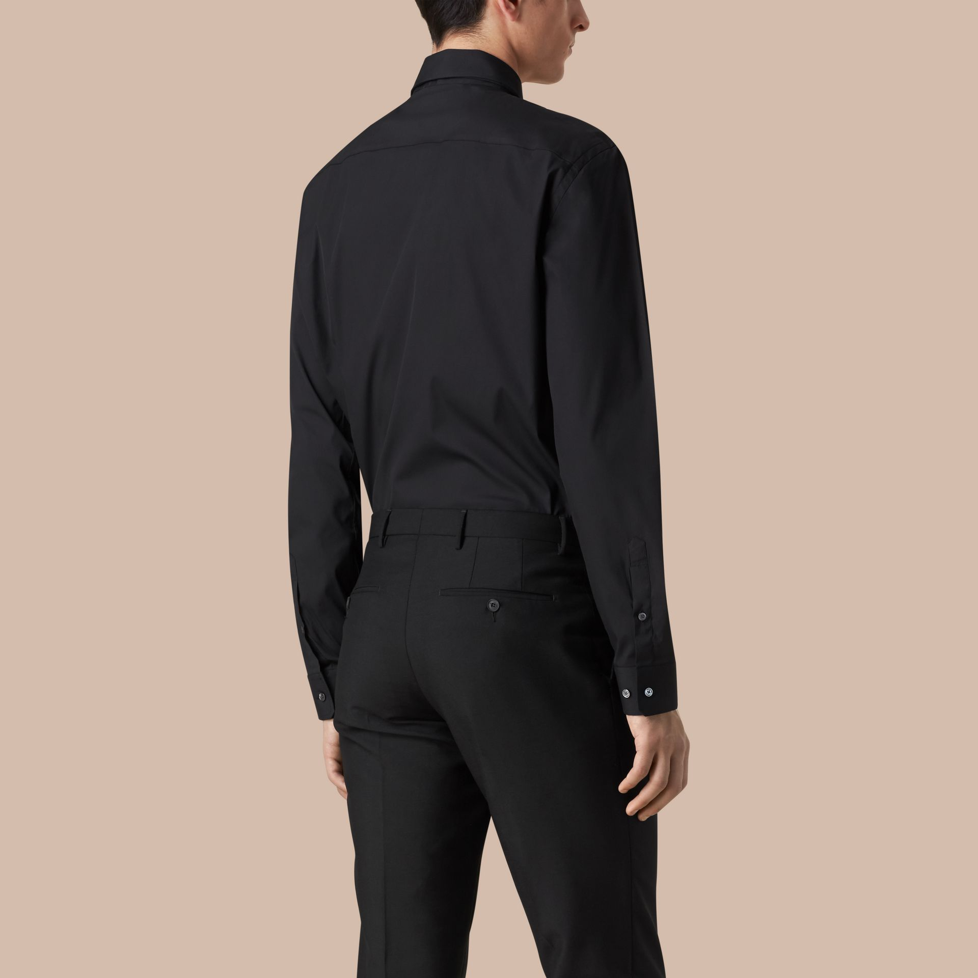 Modern Fit Stretch Cotton Shirt in Black - gallery image 3