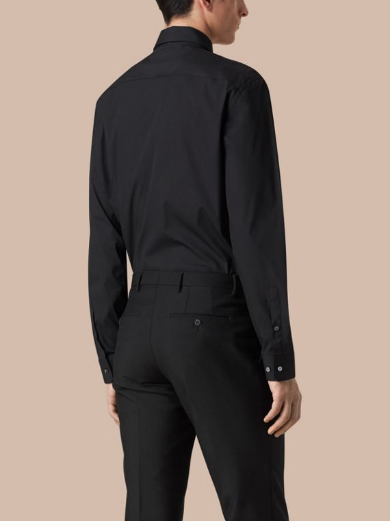 Modern Fit Stretch Cotton Shirt in Black - Men | Burberry - cell image 2