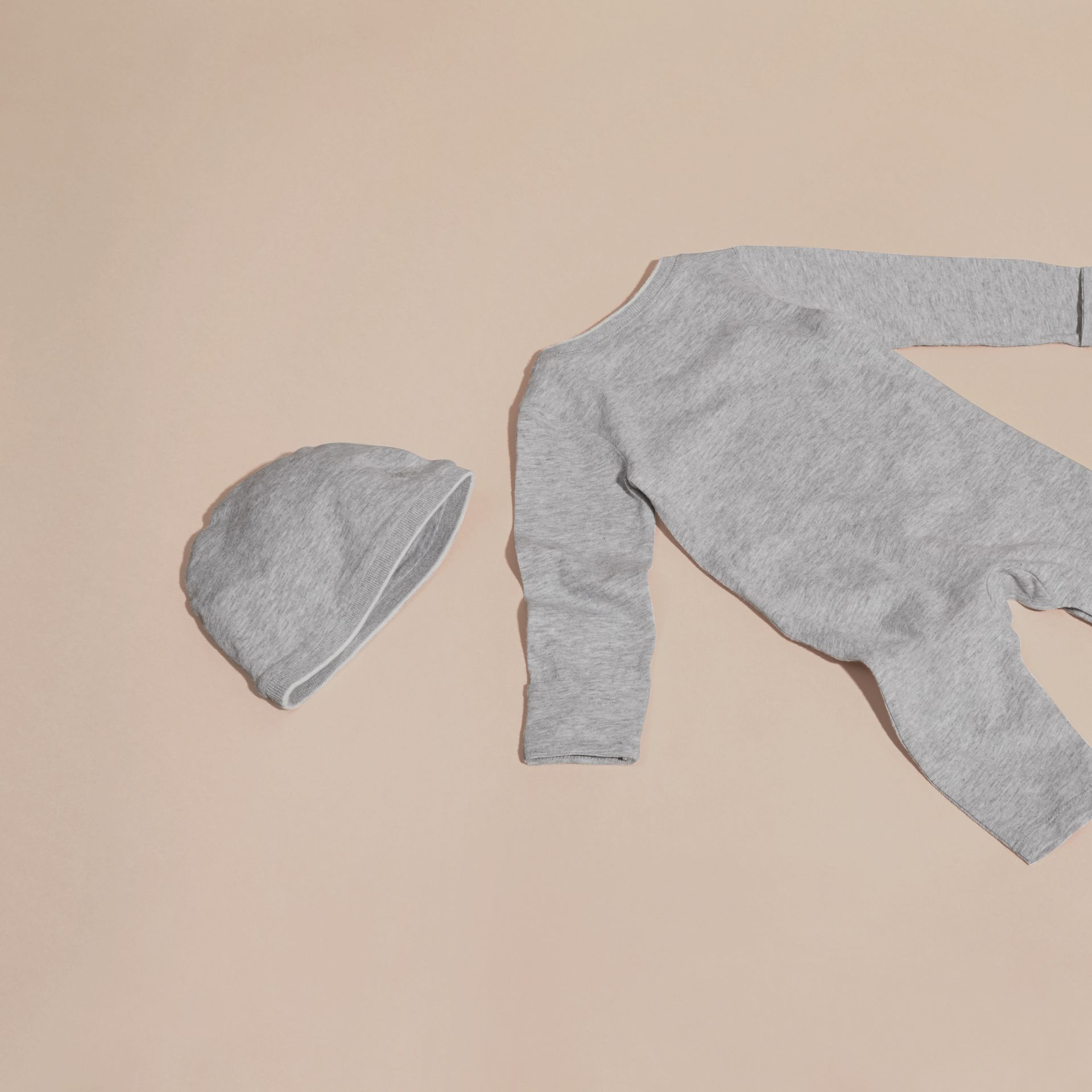 Grey melange Cotton Two-Piece Baby Gift Set - gallery image 3