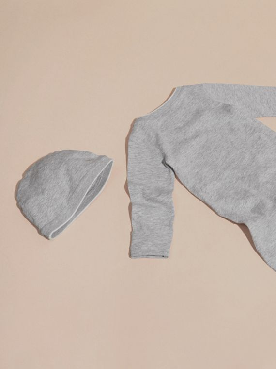 Grey melange Cotton Two-Piece Baby Gift Set - cell image 2