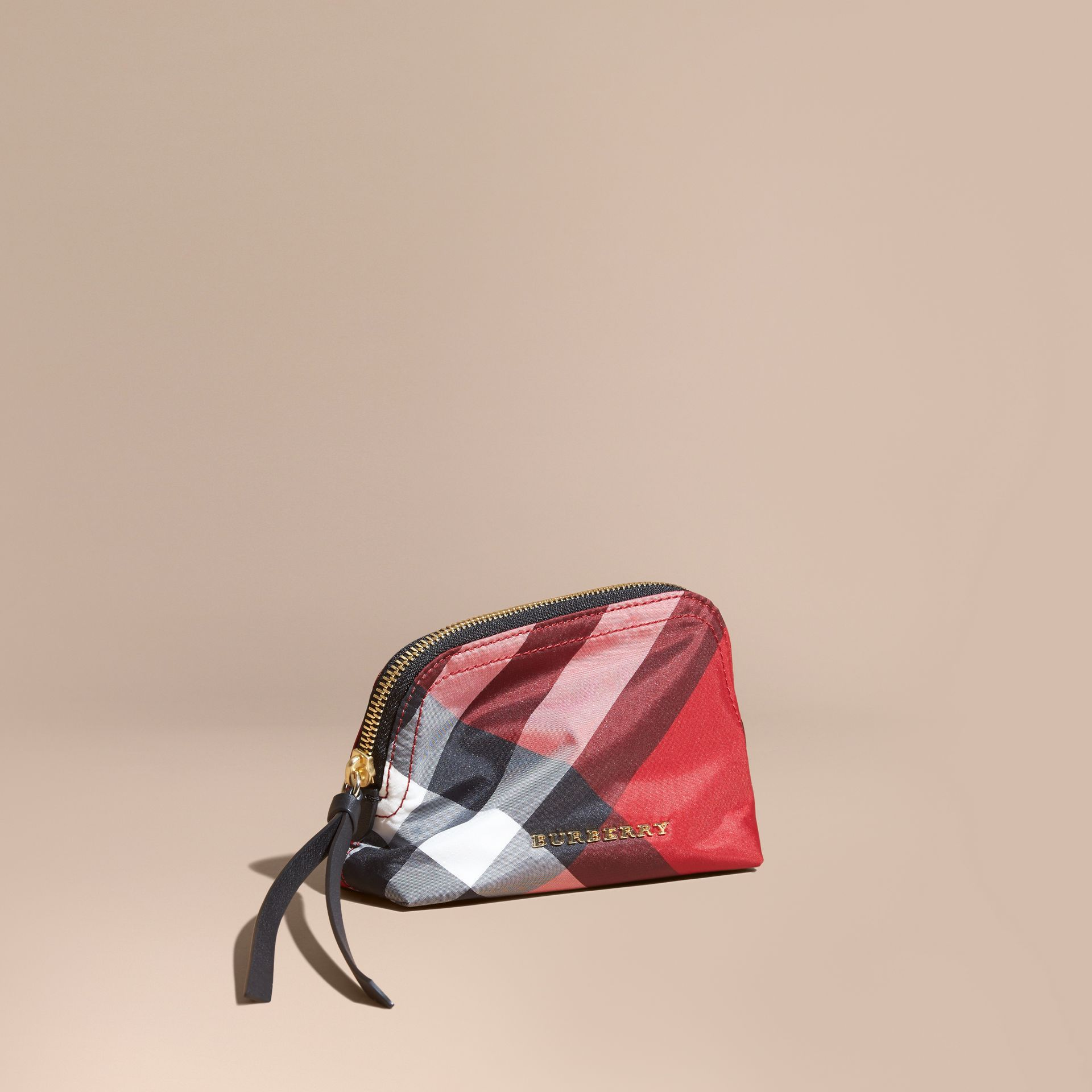 Small Zip-top Check Pouch Parade Red - gallery image 1