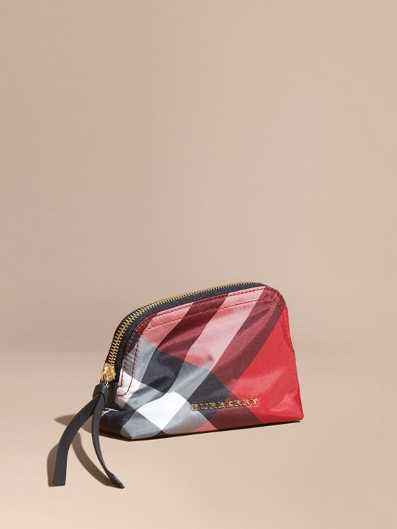 Small Zip-top Check Pouch Parade Red