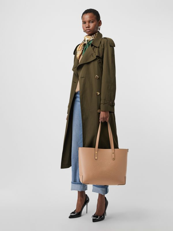 Small Embossed Crest Leather Tote in Light Camel - Women | Burberry United Kingdom - cell image 2
