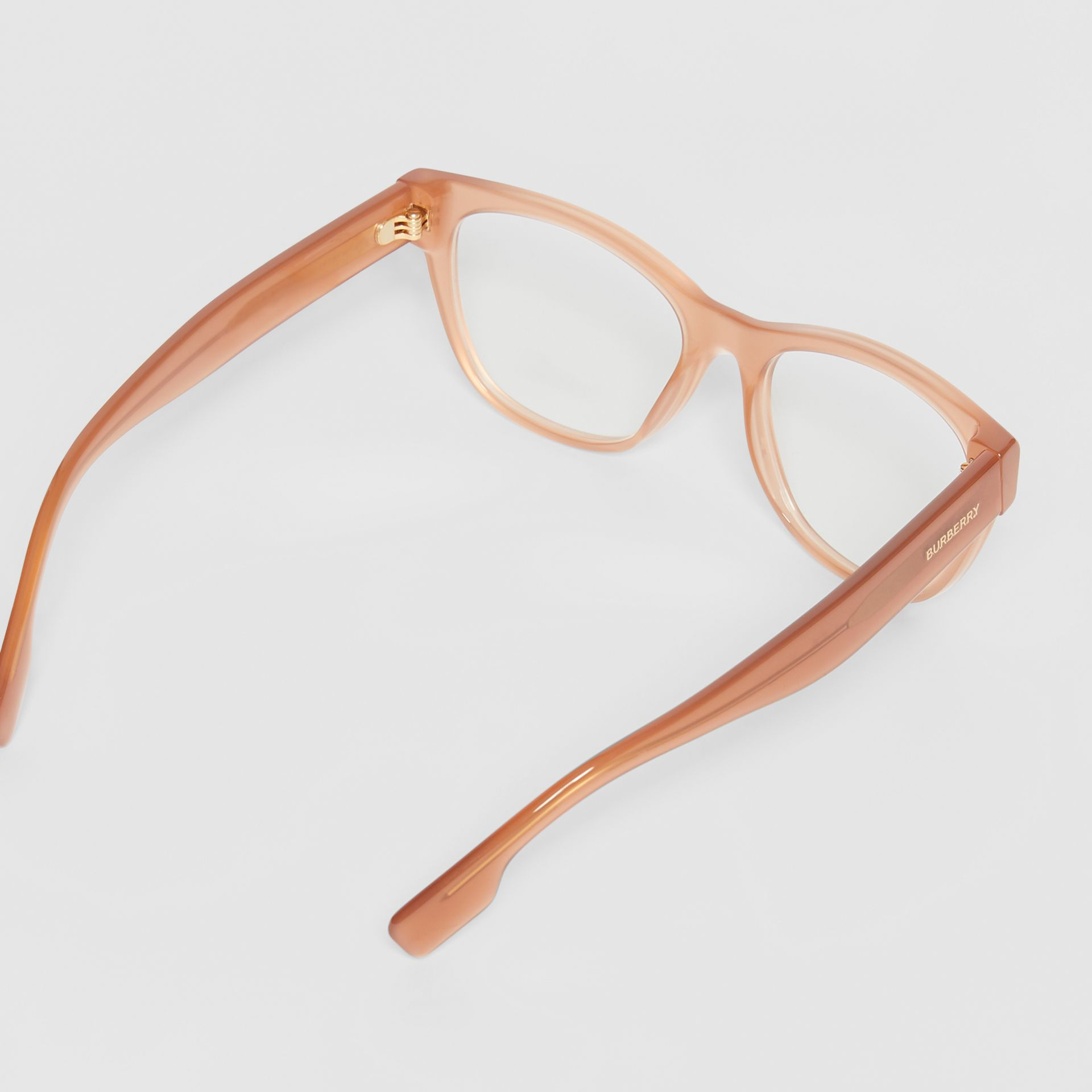 Square Optical Frames in Peach - Women | Burberry - gallery image 4