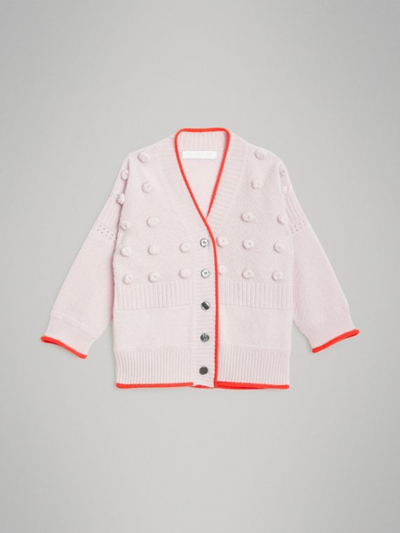 Rebeca en lana y cachemir de puntos a contraste (Lila Pálido)