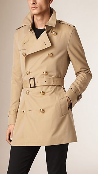 Trench coat in gabardine di cotone con bottoni militari
