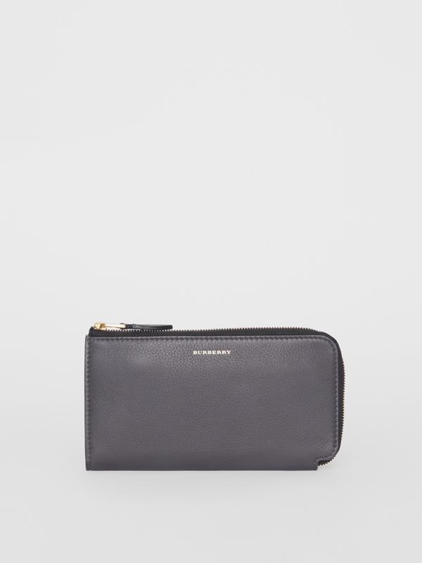 Two-tone Leather Ziparound Wallet and Coin Case in Charcoal Grey - Women | Burberry - cell image 2