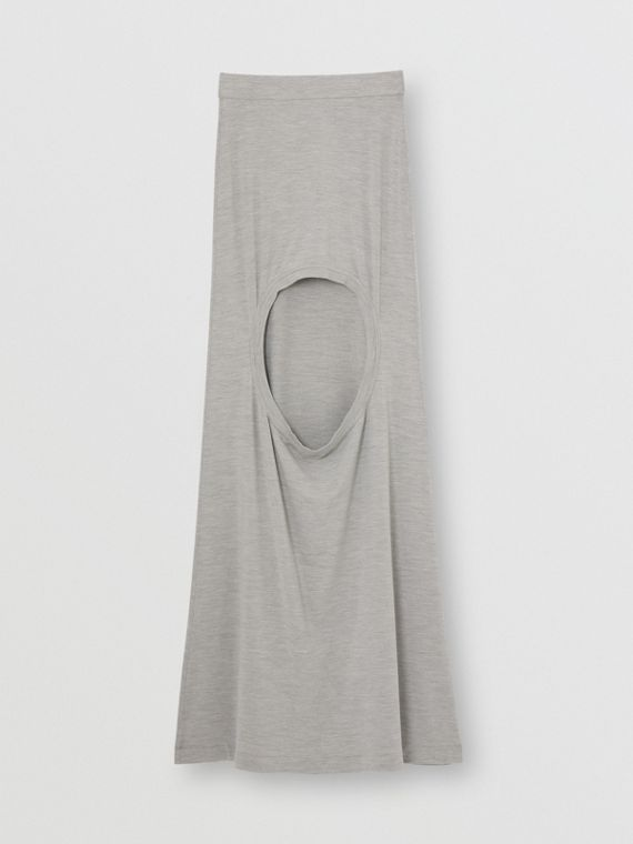 Stretch Silk Jersey Step-through Skirt in Grey Melange