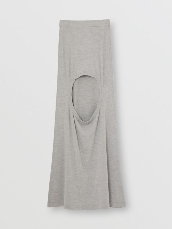 Stretch Silk Jersey Step-through Skirt in Grey Melange - Women | Burberry - cell image 3