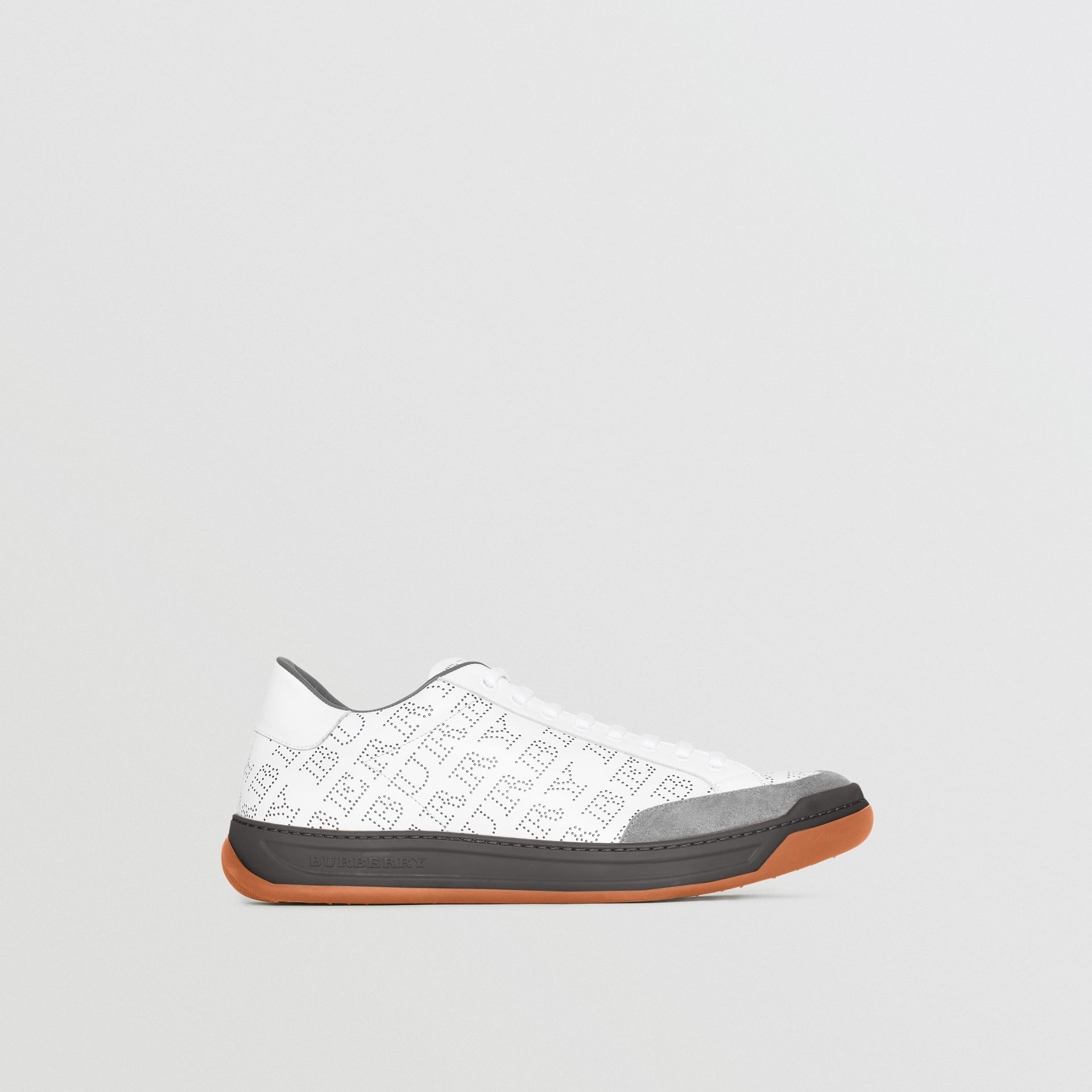 Perforated Logo Leather Sneakers in Optic White/dark Grey Melange - Men | Burberry United Kingdom - gallery image 5