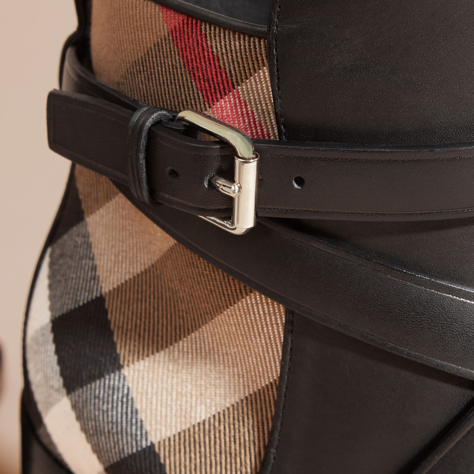 House Check and Leather Ankle Boots in Black - Women | Burberry - gallery image 1