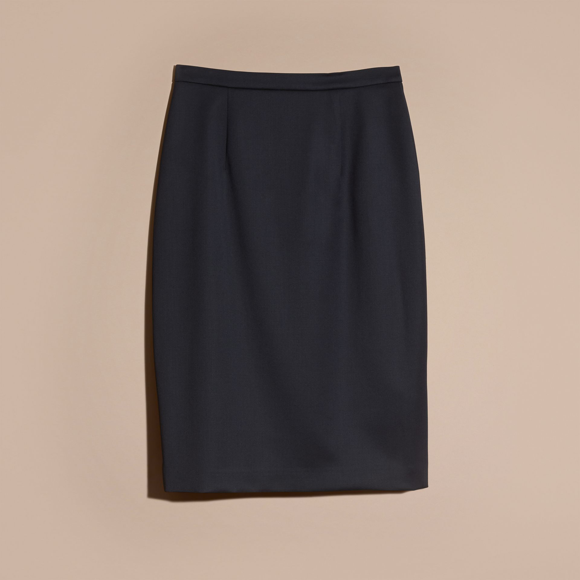 Stretch Virgin Wool Tailored Pencil Skirt Ink - gallery image 4