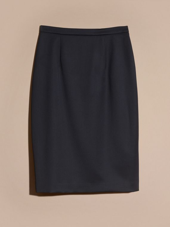 Stretch Virgin Wool Tailored Pencil Skirt Ink - cell image 3