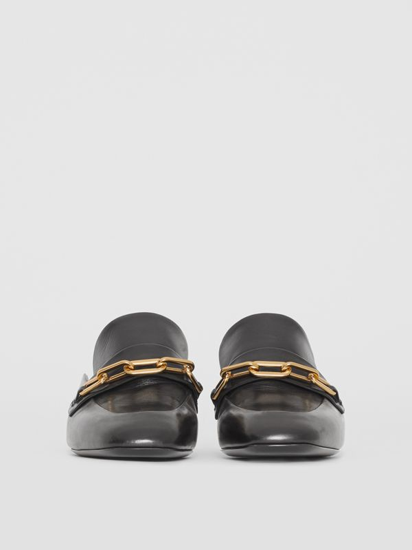Link Detail Leather Block-heel Mules in Black - Women | Burberry Singapore - cell image 3