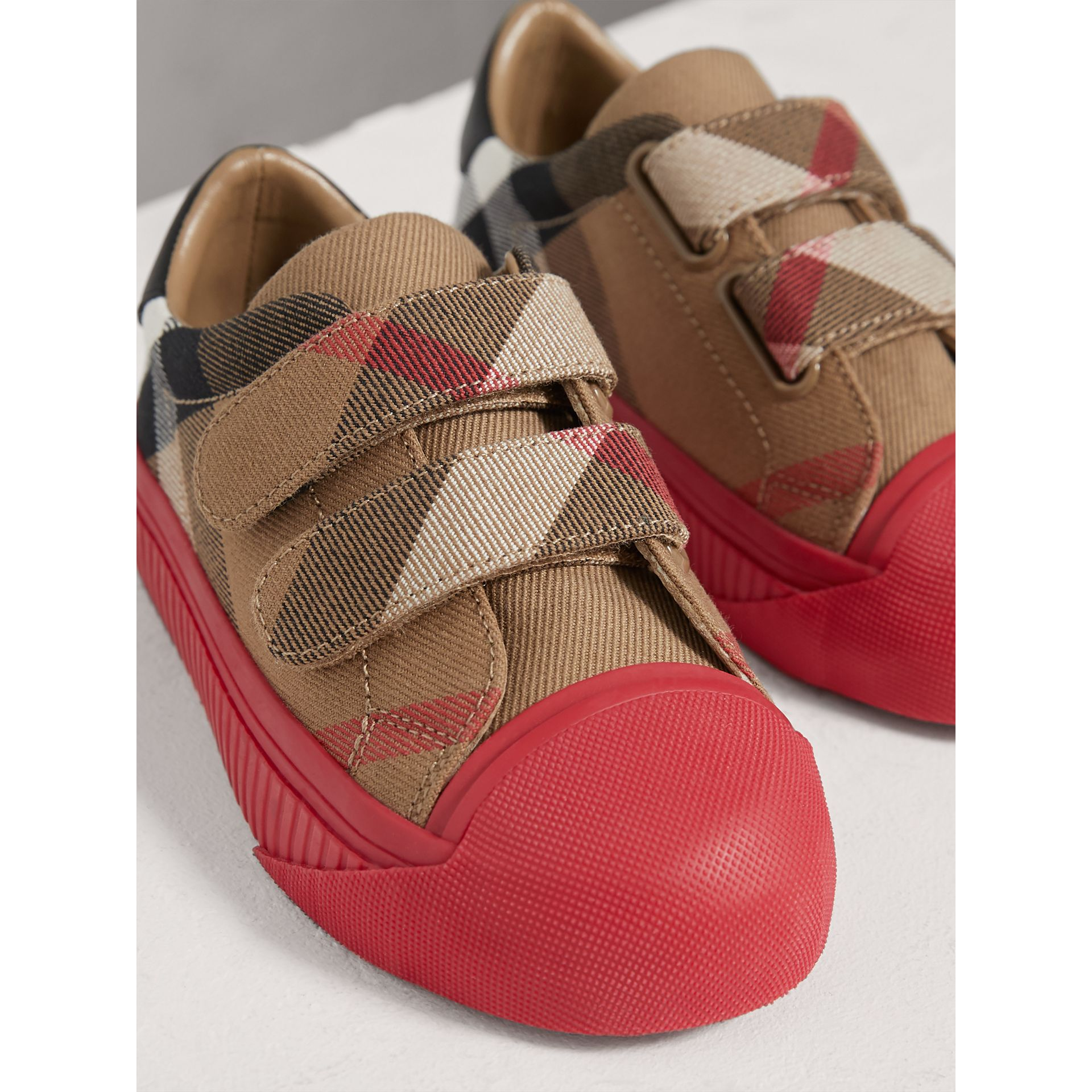 House Check and Leather Sneakers in Classic/parade Red | Burberry Australia - gallery image 3