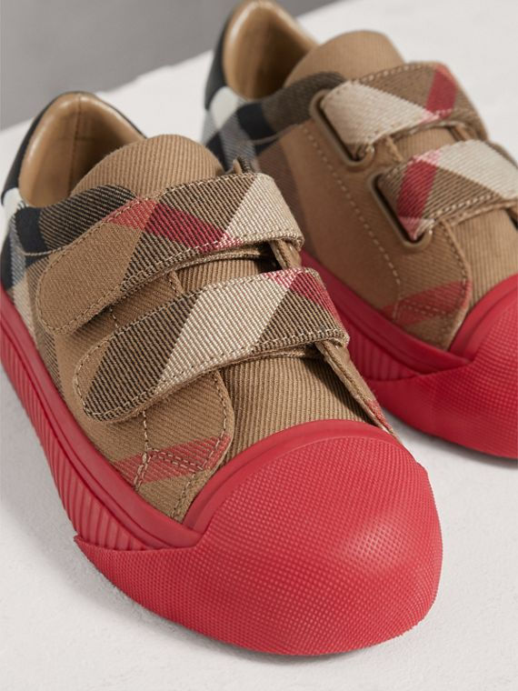 Sneakers en coton House check et cuir (Rouge Classique/parade) | Burberry - cell image 3