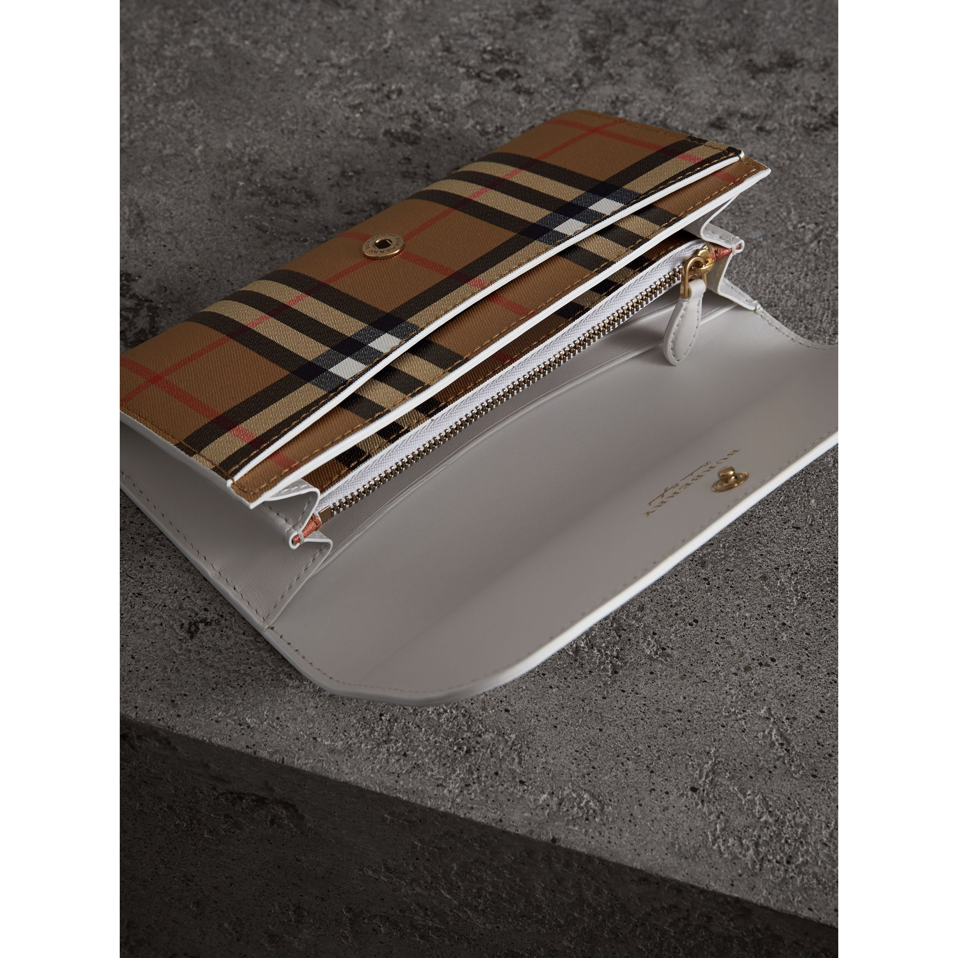 Vintage Check and Leather Continental Wallet in Chalk White - Women | Burberry - gallery image 3