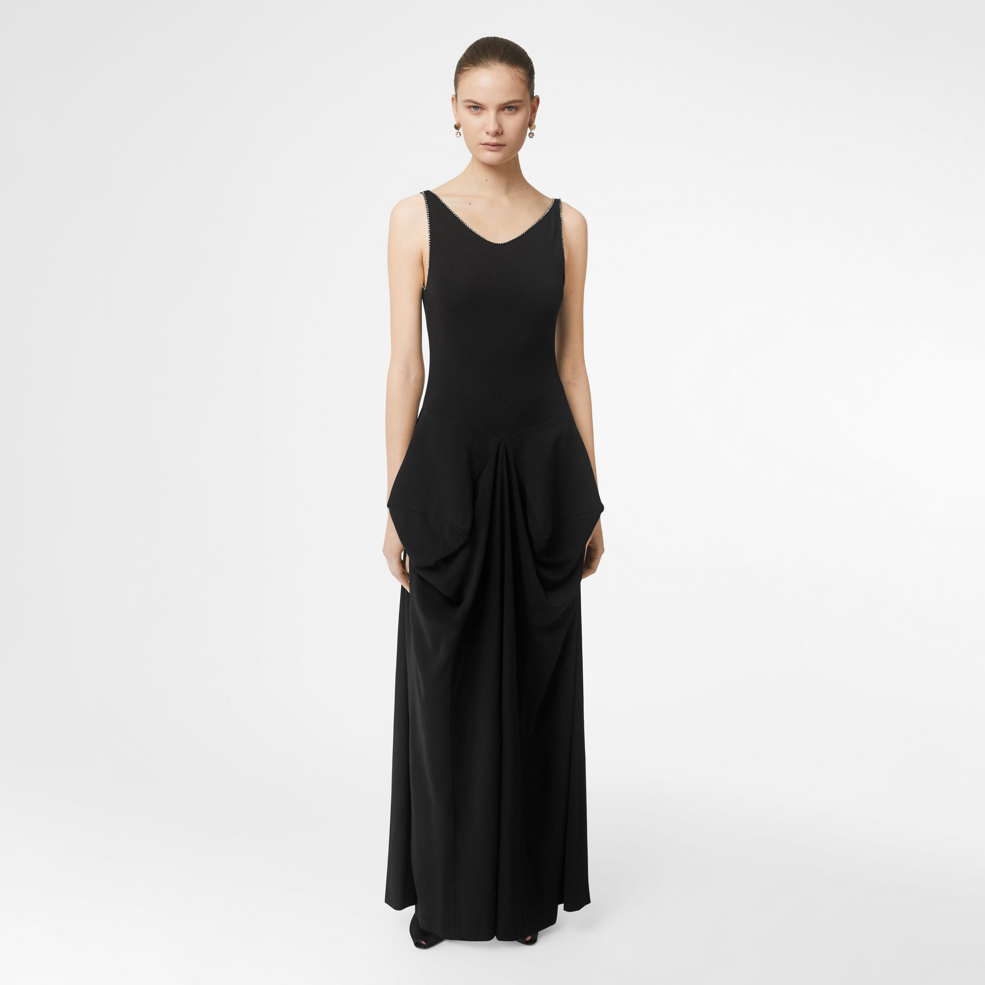 Crystal Detail Stretch Jersey Gown in Black - Women | Burberry - gallery image 5