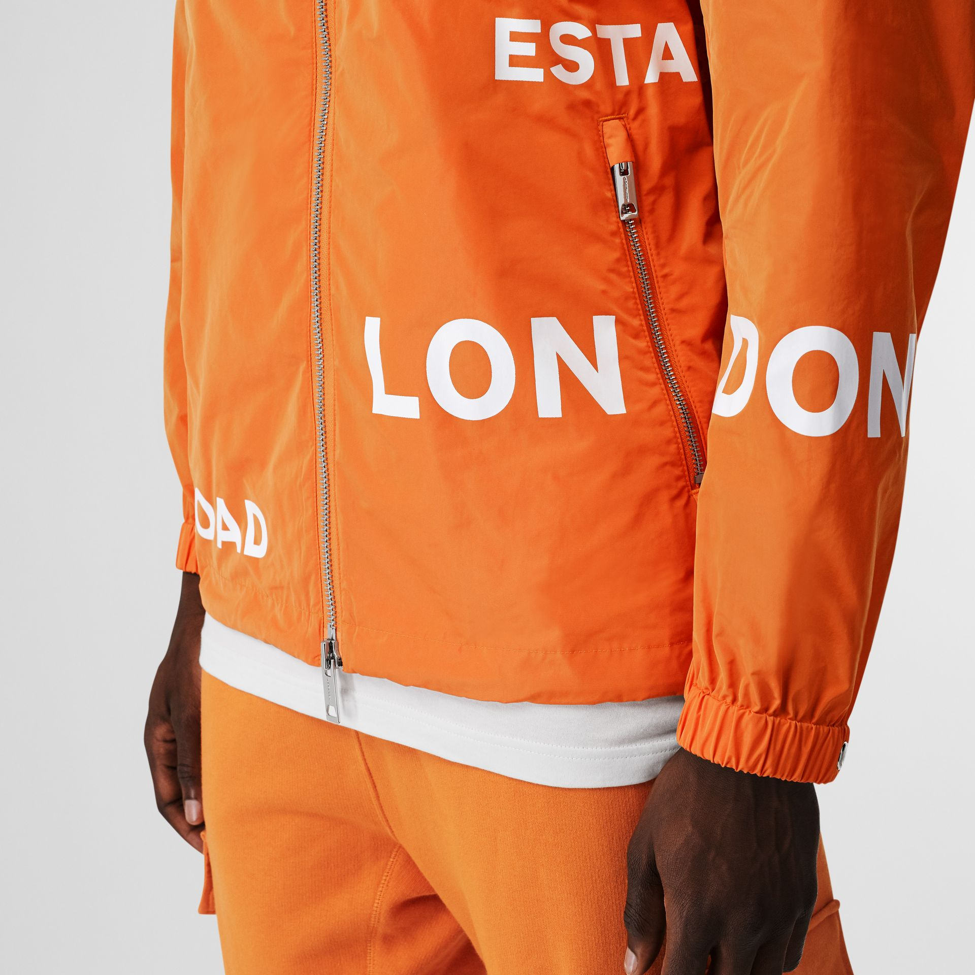 Horseferry Print Nylon Hooded Jacket in Bright Orange - Men | Burberry - gallery image 4