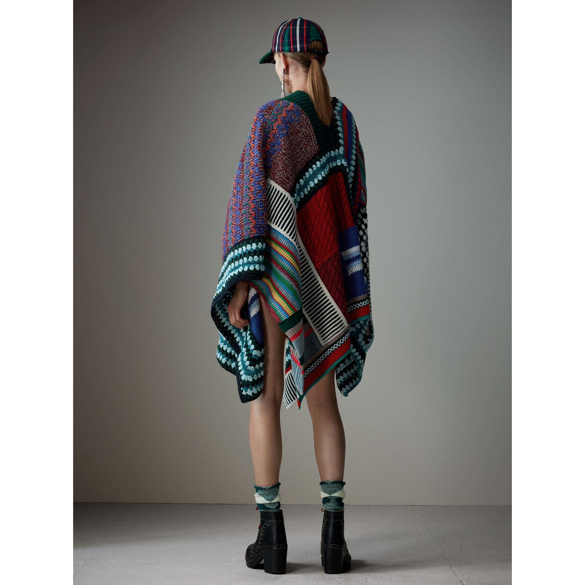 Cashmere Wool Blend Patchwork Poncho in Multicolour | Burberry Singapore - gallery image 3
