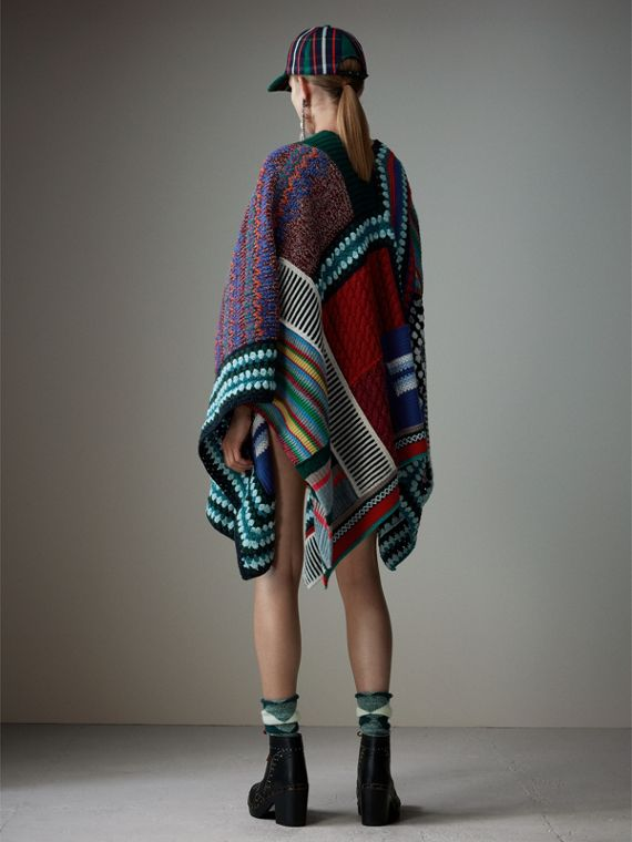 Cashmere Wool Blend Patchwork Poncho in Multicolour | Burberry Australia - cell image 2