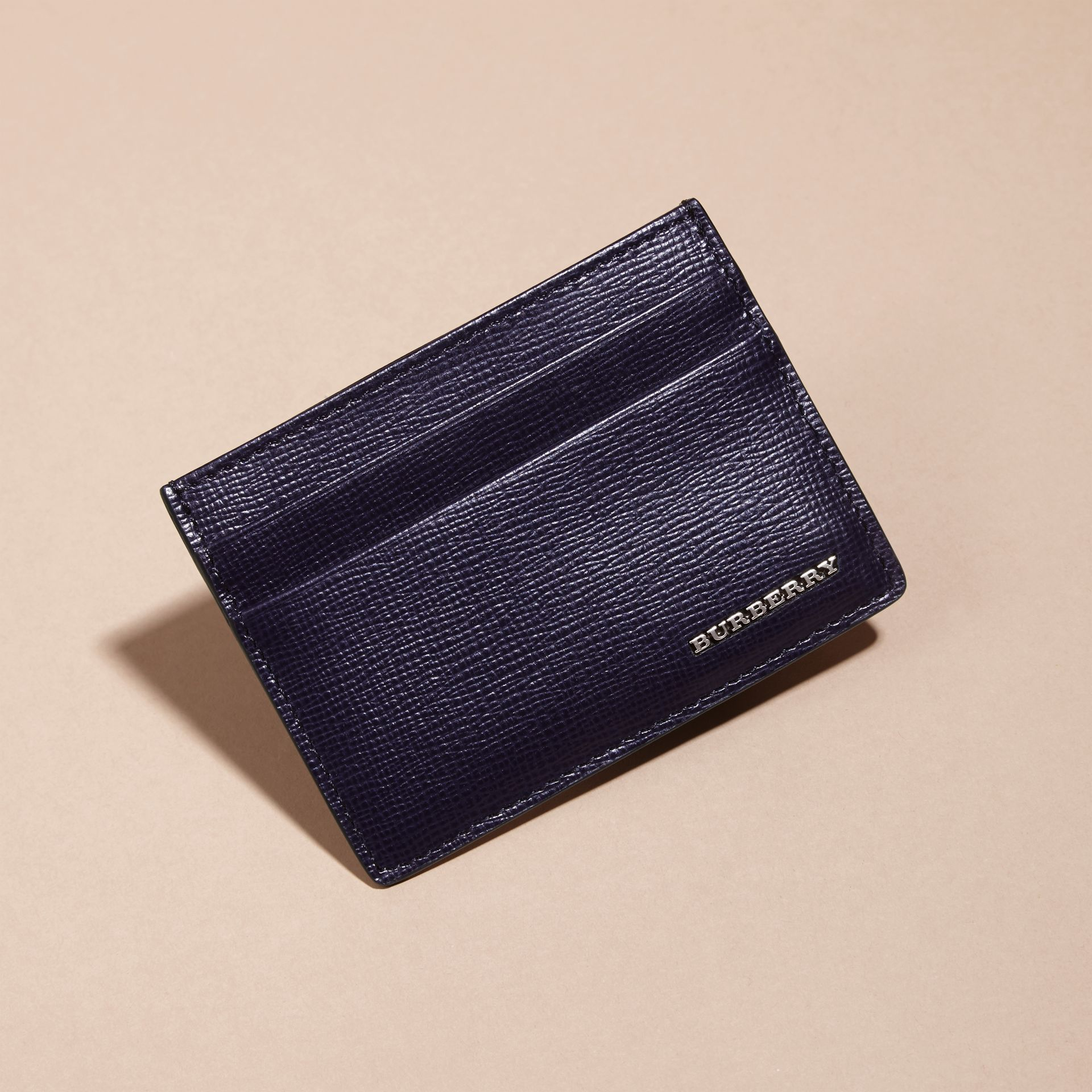London Leather Card Case in Dark Navy - Men | Burberry - gallery image 3