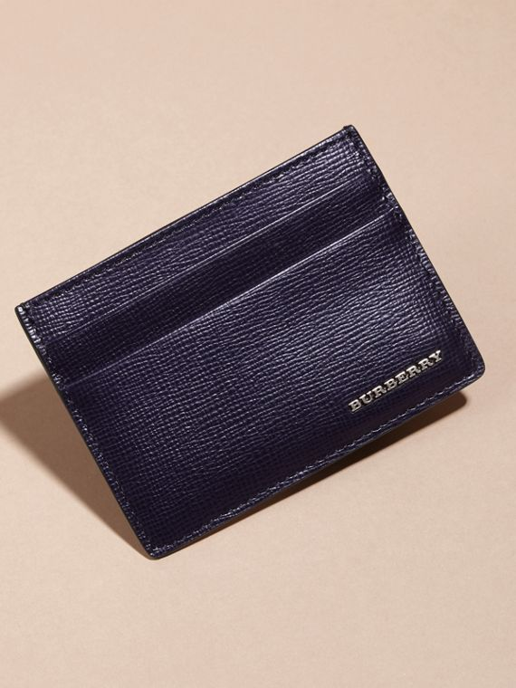 London Leather Card Case in Dark Navy - Men | Burberry - cell image 2