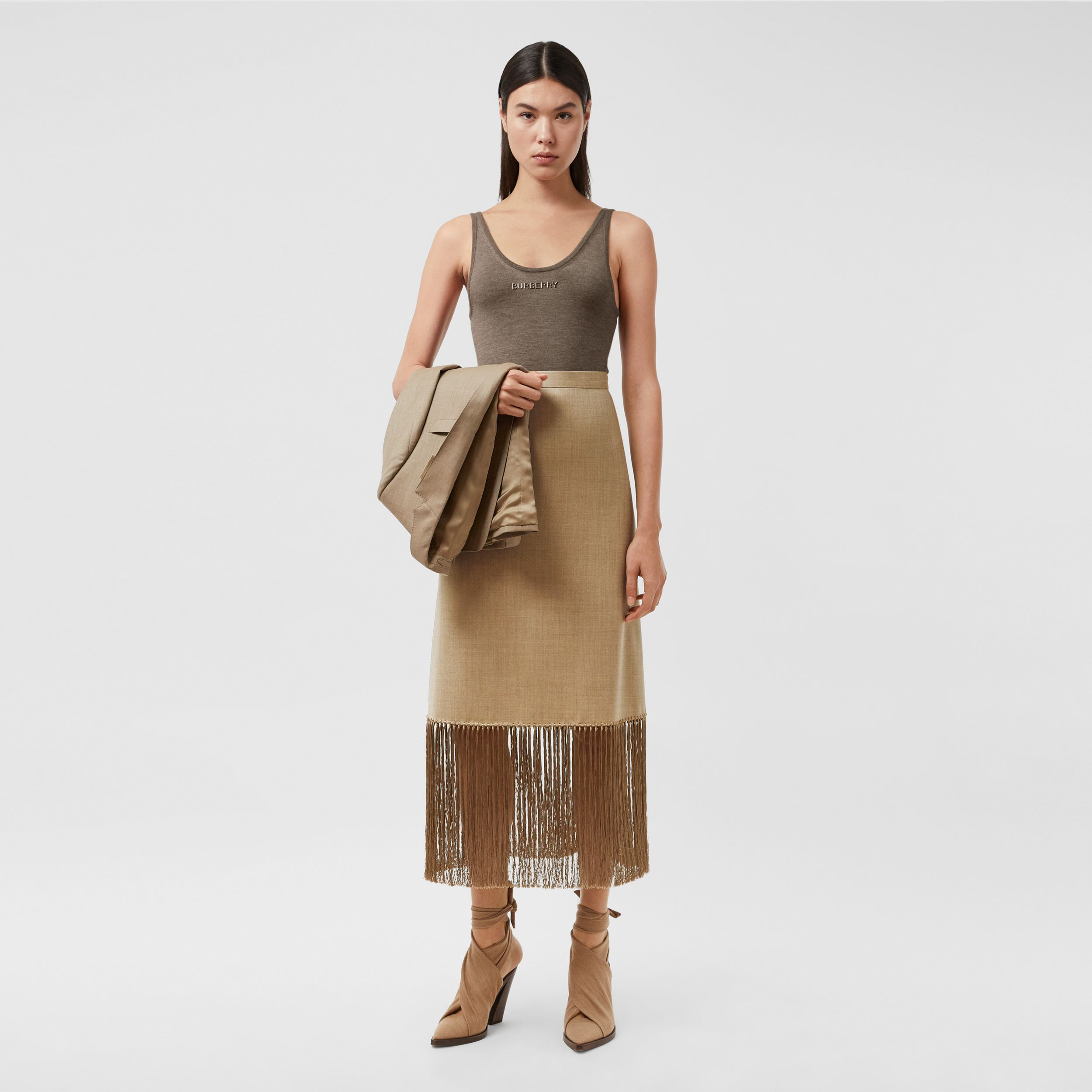 Fringed Wool Cashmere A-line Skirt in Pecan Melange - Women | Burberry - 1