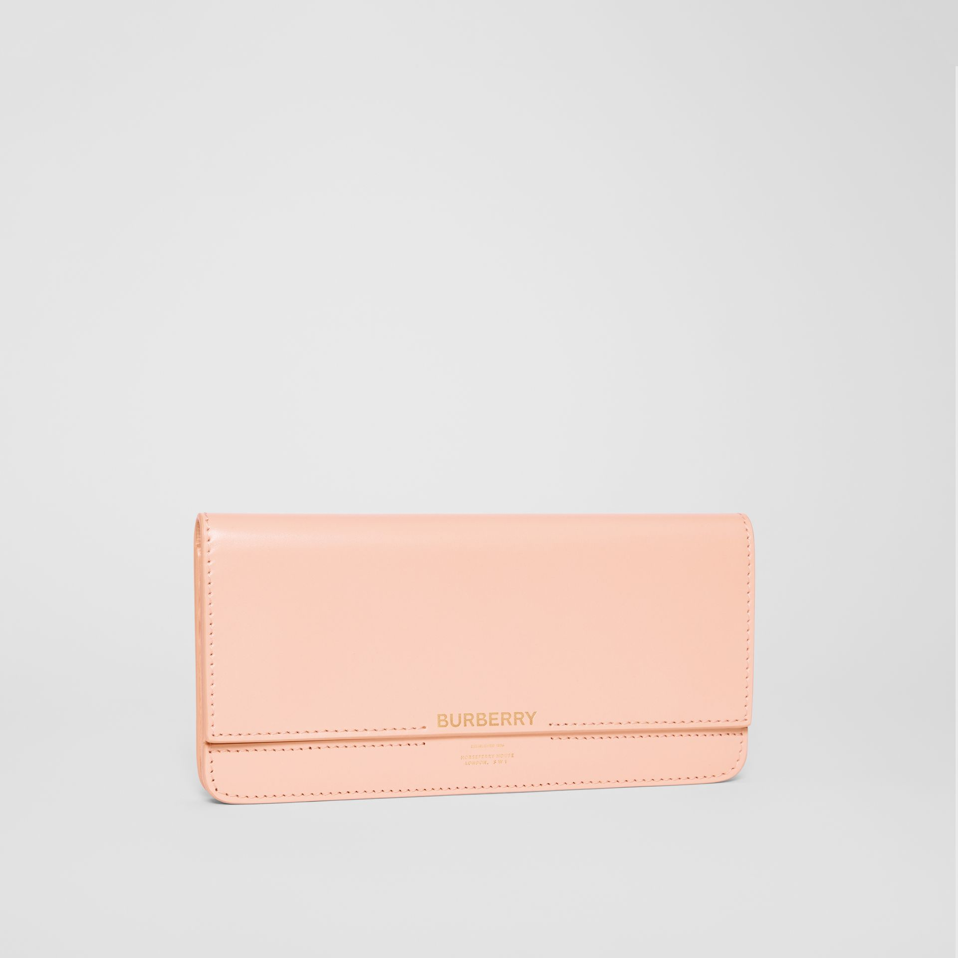 Horseferry Embossed Leather Continental Wallet in Blush Pink - Women | Burberry - gallery image 4