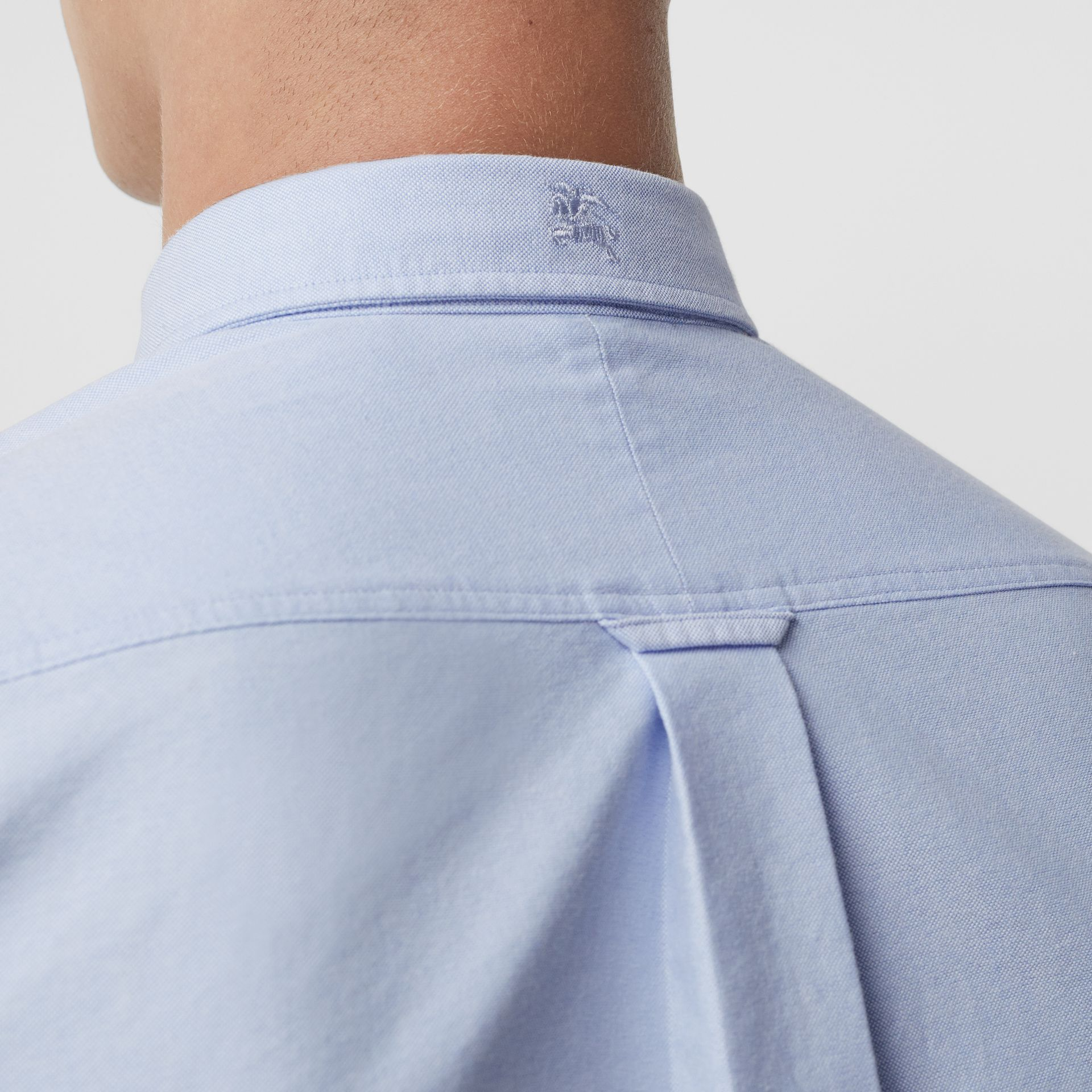 Check Cuff Cotton Oxford Shirt in Cornflower Blue - Men | Burberry Singapore - gallery image 4