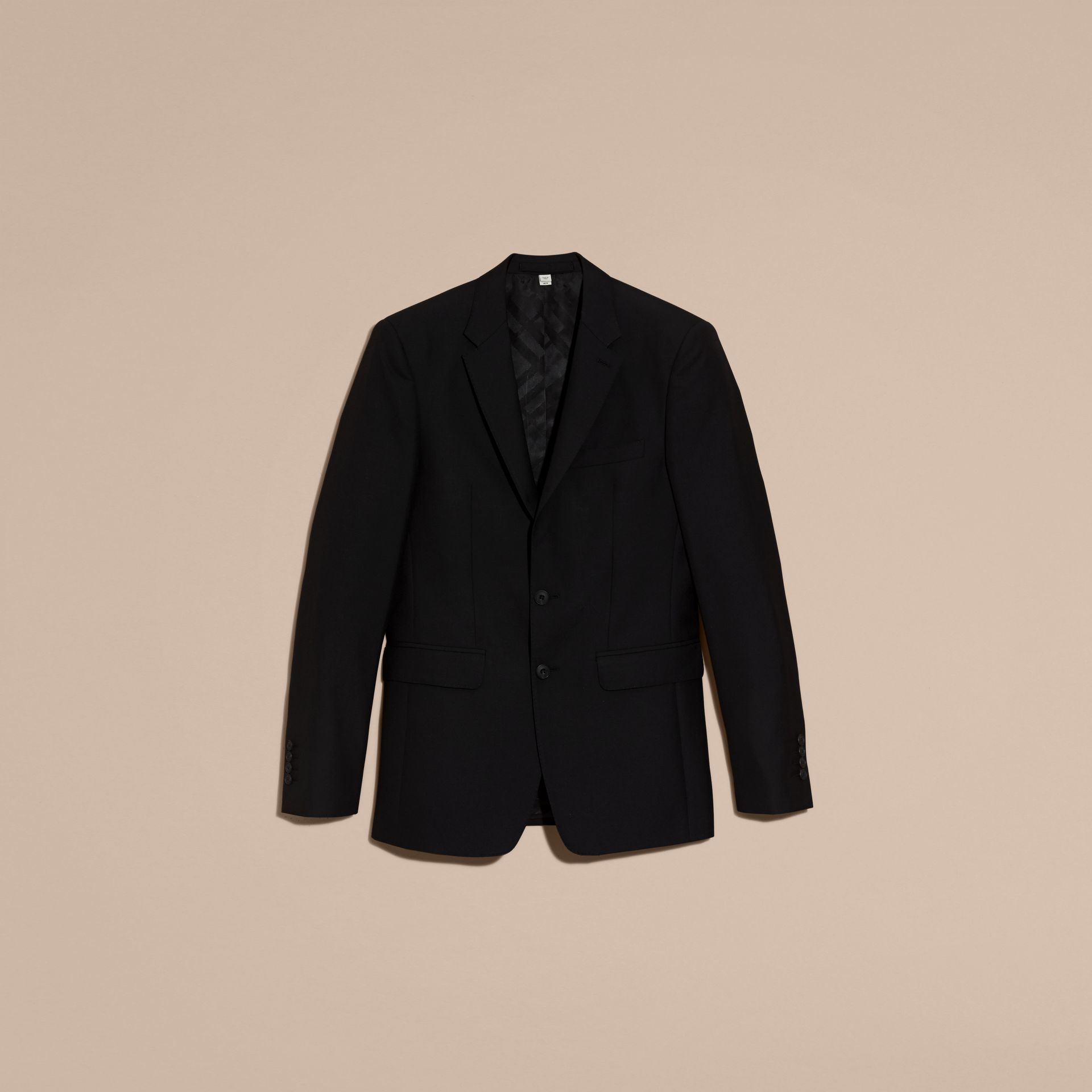 Slim Fit Wool Part-canvas Suit Black - gallery image 4