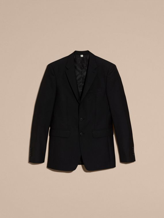 Slim Fit Wool Part-canvas Suit in Black - cell image 3