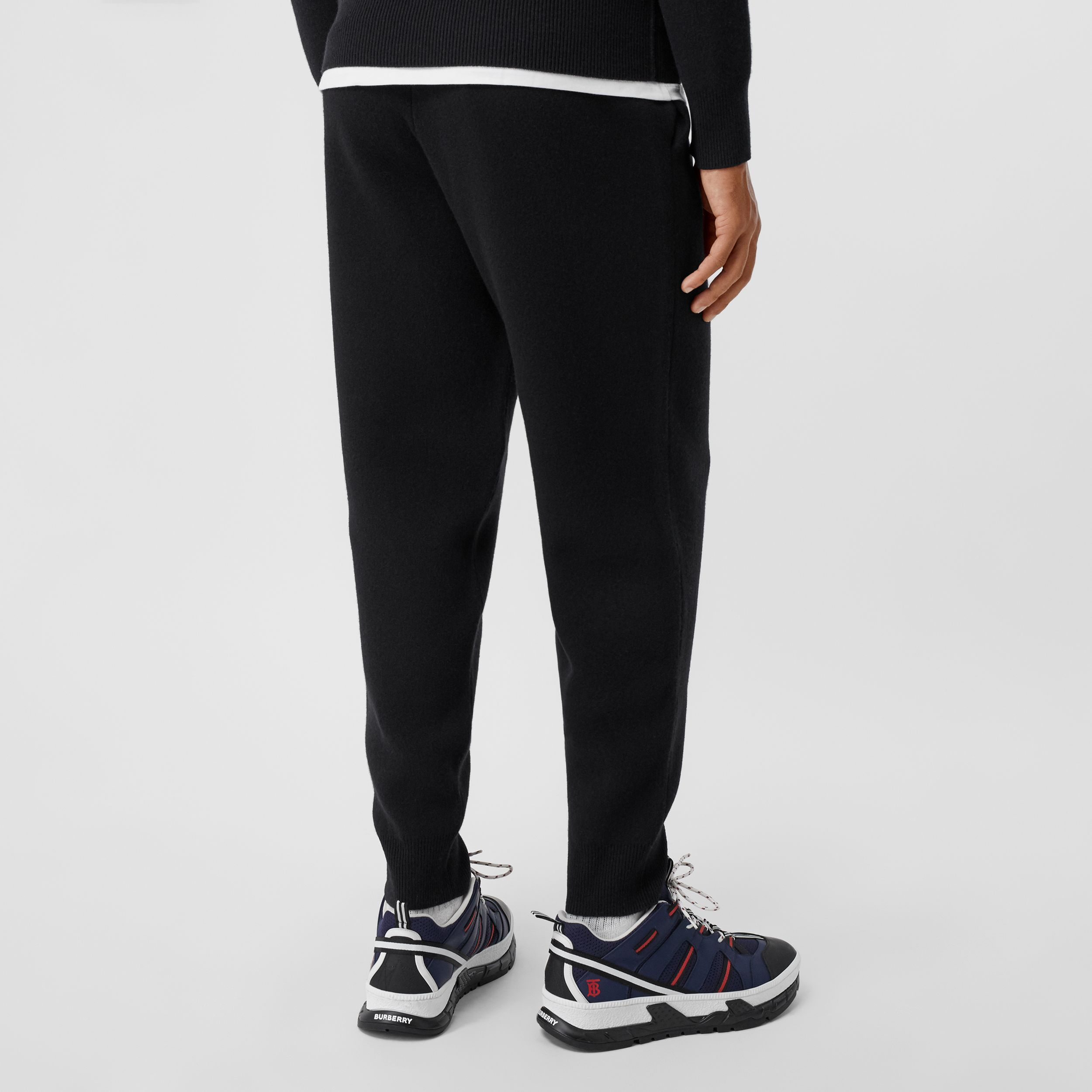 Monogram Motif Cashmere Blend Trackpants in Black - Men | Burberry - 3