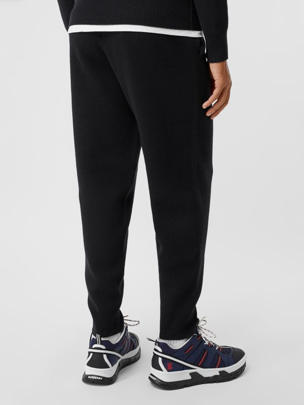 Monogram Motif Cashmere Blend Trackpants in Black - Men | Burberry - cell image 2