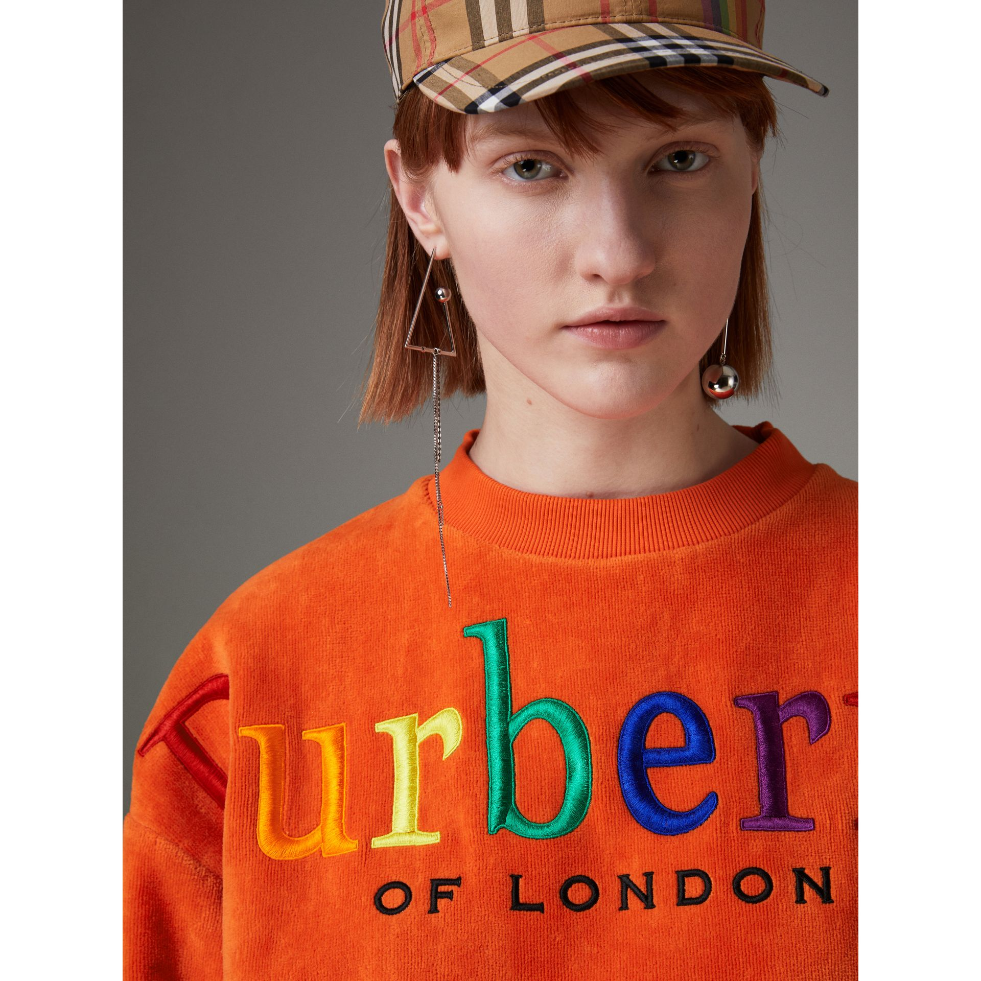 Archive Logo Towelling Sweatshirt in Tangerine - Women | Burberry United Kingdom - gallery image 1