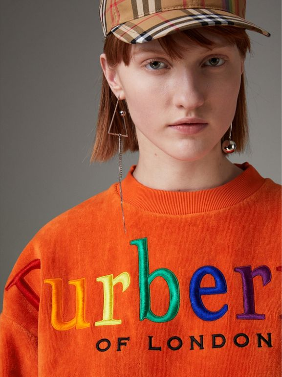 Archive Logo Towelling Sweatshirt in Tangerine - Women | Burberry Canada - cell image 1