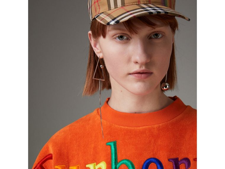 Archive Logo Towelling Sweatshirt in Tangerine - Women | Burberry United Kingdom - cell image 1