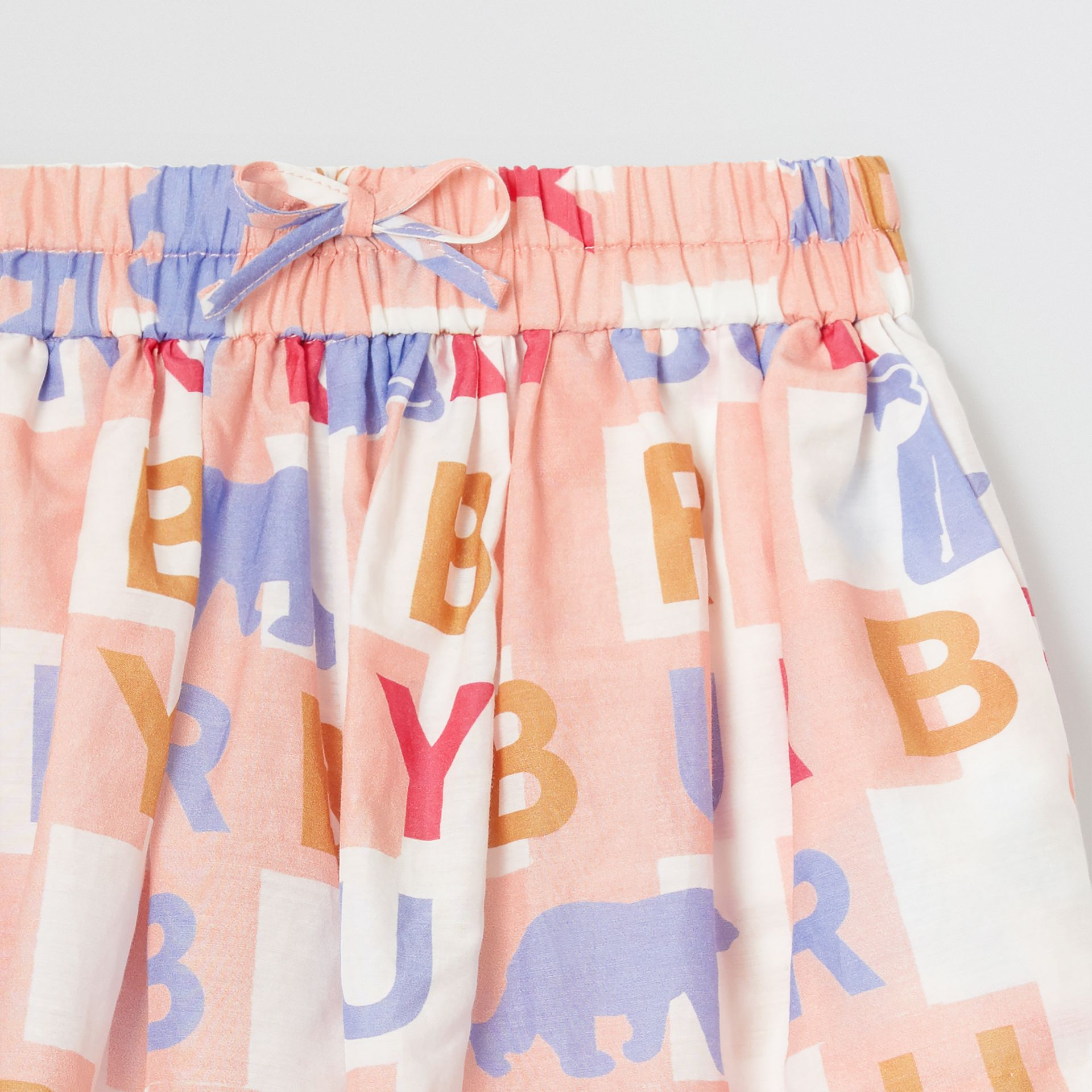 Logo Print Cotton Silk Drawcord Shorts in Pale Rose - Children | Burberry - gallery image 4