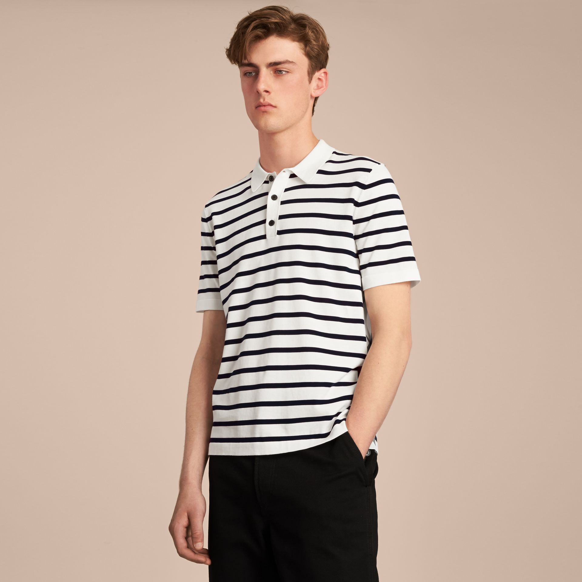Breton Stripe Cotton Polo Shirt in White - Men | Burberry - gallery image 6