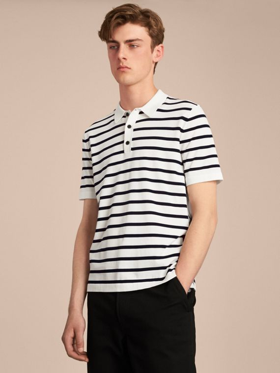 Breton Stripe Cotton Polo Shirt in White - Men | Burberry Canada