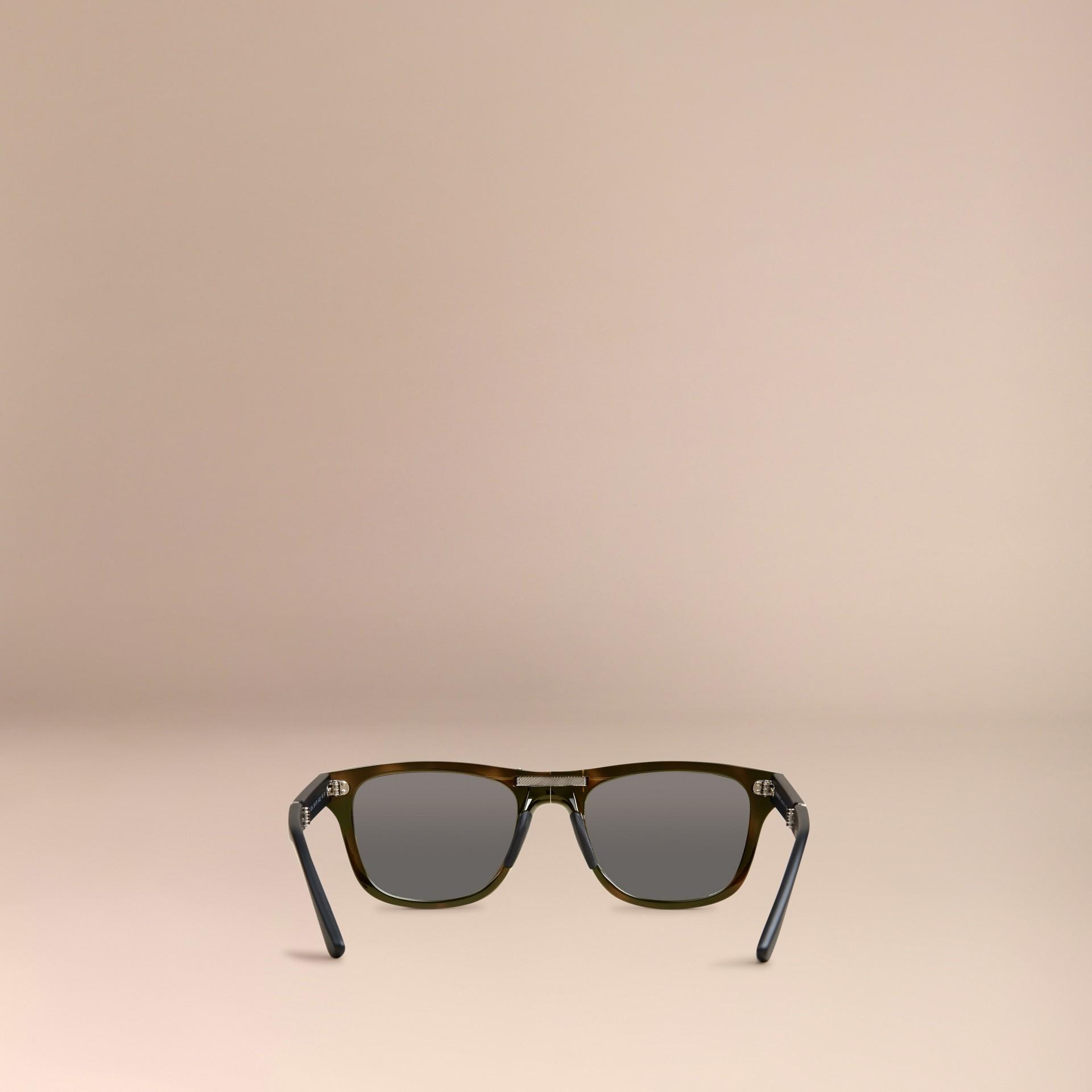 Grey Folding Rectangular Frame Polarised Sunglasses Grey - gallery image 4