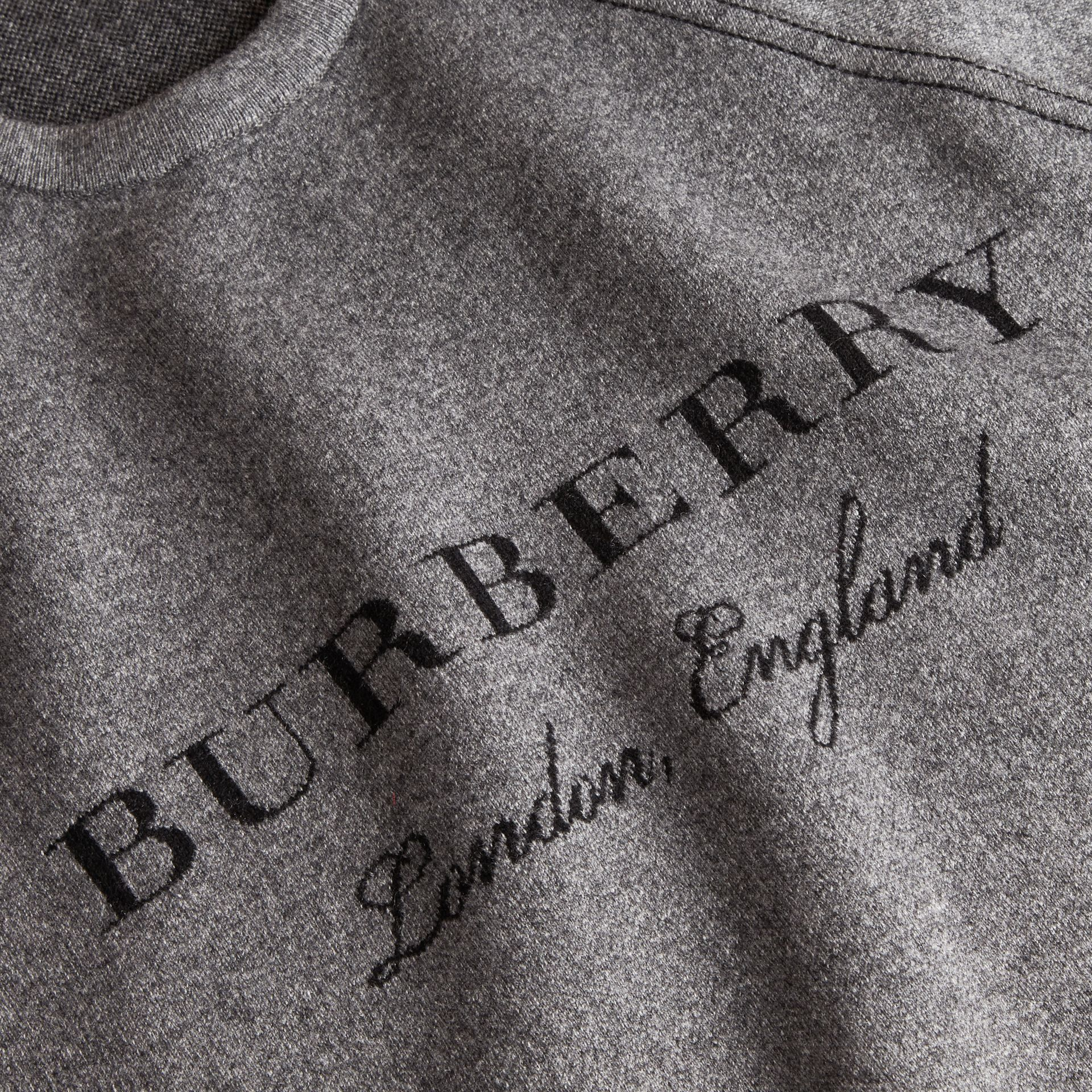 Topstitch Detail Wool Cashmere Blend Sweater in Mid Grey Melange - Women | Burberry Australia - gallery image 2