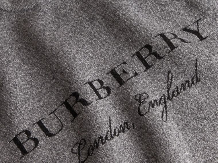 Topstitch Detail Wool Cashmere Blend Sweater in Mid Grey Melange - Women | Burberry Canada - cell image 1