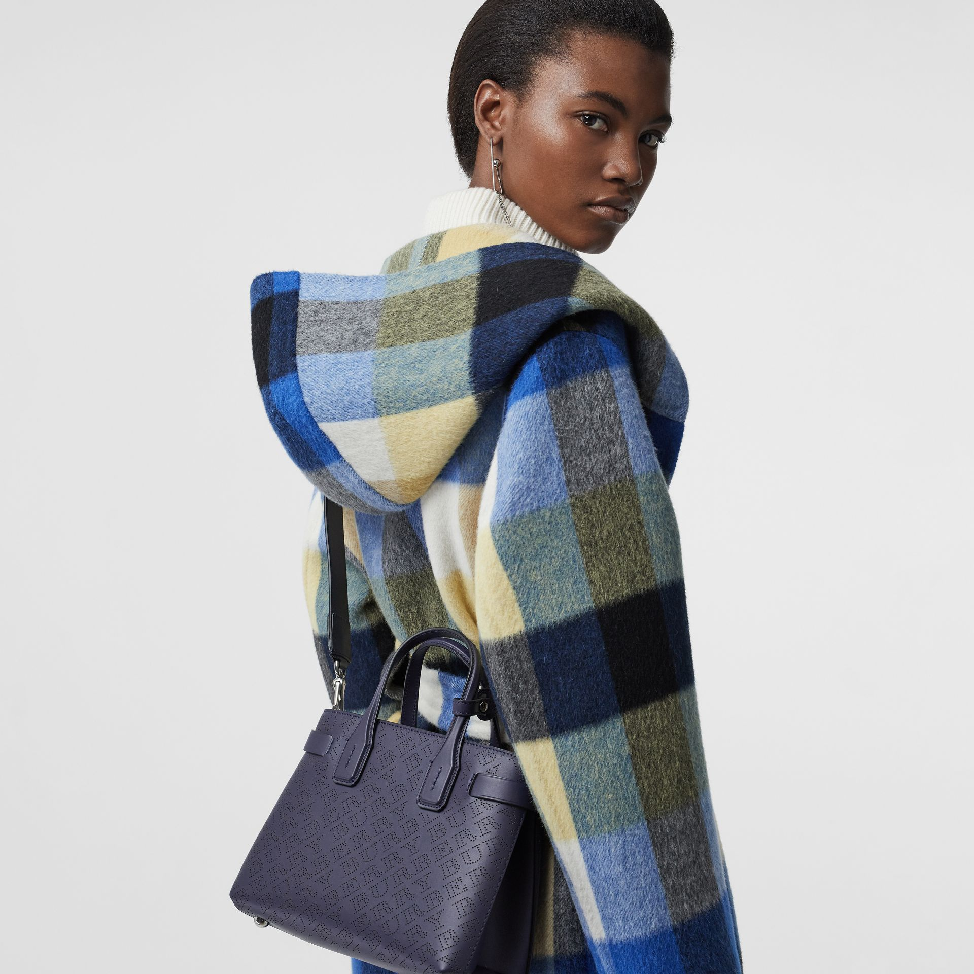The Small Banner in Perforated Logo Leather in Regency Blue - Women | Burberry United Kingdom - gallery image 3